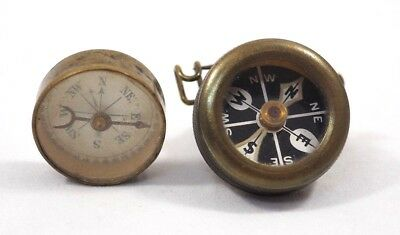 Vintage Old Marbles Brass Compass Pin Back & Dr. Scott's Electric Brush Compass