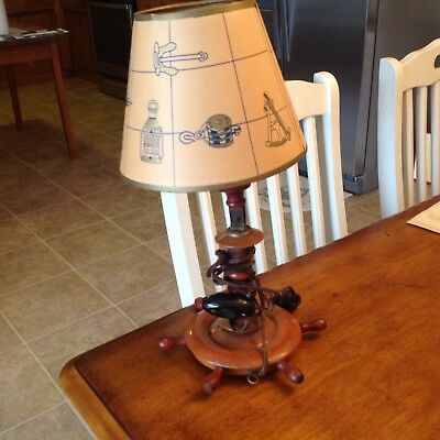VINTAGE SHIPS WHEEL WALL/Table LAMP SCONCE w/ Original SHADE  NAUTICAL WOODEN