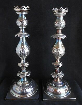 Antique Polish Fraget Plaque Silverplate Candlesticks Warsaw Poland Coat/Arms