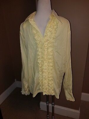 Mens 1970s Vintage Yellow Ruffled Tuxedo Wedding Prom Shirt Size Large