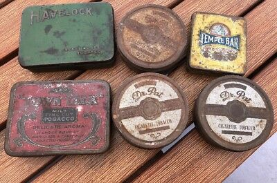 6 Old Tobacco Tins - Bulk Lot - Collectable Vintage Items