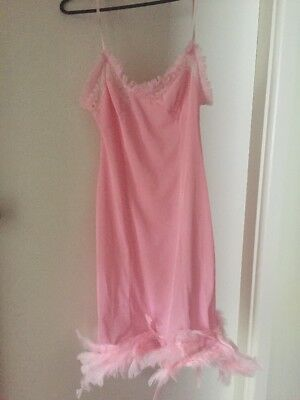 Lingerie Negligee Pink Feather Slip Vintage No Tag