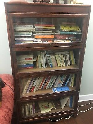 Antique Barrister Lawyer Mahogany 4 Stack Bookcase