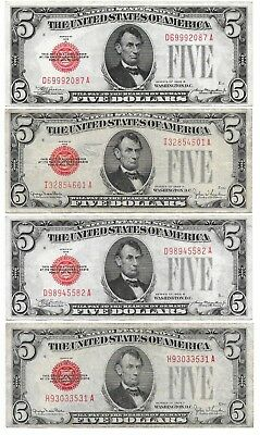 Red Seal Note Five $5 Dollar, Lot of Four