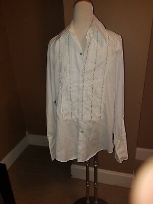 Mens 1970s Vintage White Lace and Embroidered Tuxedo Wedding Prom Shirt Size XL