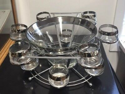 Vtg MCM Thorpe? Silver Rim Punch Bowl Set in Caddy 12 Roly Poly Glasses Nice!