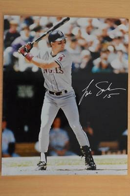 TIM SALMON hand signed action photo. LOS ANGELES. ANGELS. BASEBALL.