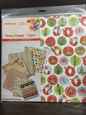 NEW - CHRISTMAS SCRAPBOOKING PAPER PACK - 6 ASSORTED DESIGNS - 30 X 30cm