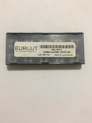 10 Pcs Eurcut Cnmg 432-Wr Dtcp 126 Carbide Inserts Made In Luxembourg