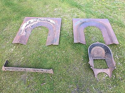 Antique Fireplace Inserts Surrounds x 2 - Pressed Metal in original condition