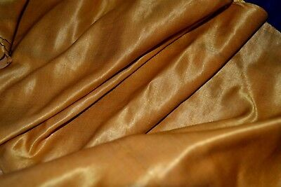 Luxurious Antique Cotton Backed Silk Garment Remnant Autumn Gold~1800's fabric