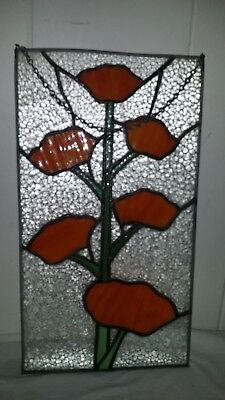 Vintage Stained Glass Hanging Window Panel Orange Poppy Poppies Field Flowers
