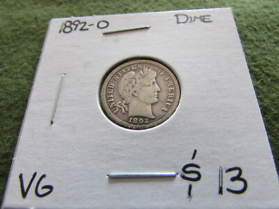1892 O Barber Dime New Orleans Mint 10 Cent Silver Coin