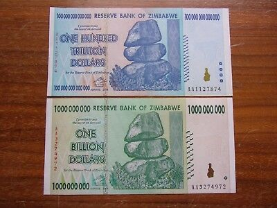 100 Trillion Dollar And One Billion Zimbabwe Note's 2008 2 Note's