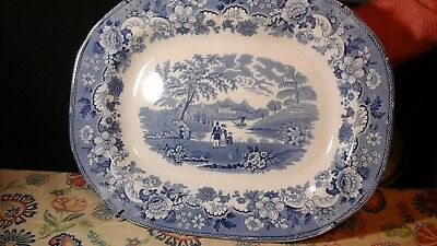 Large Early Blue and White American Staffordshire Platter