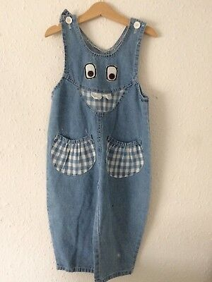 Vintage Kids 80s 90s French Novelty Kitsch Denim Cotton Overalls Dungarees 2 3 Y