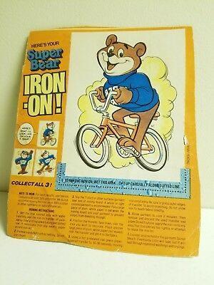 Vintage 1970's Post SUPER SUGAR PUFFSCereal Box Tee Shirt BICYCLE Iron On+++++++