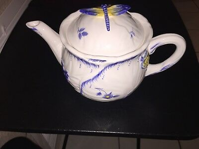 Spode Imperial Garden Teapot With Dragonfly On Lid In MINT Cond.