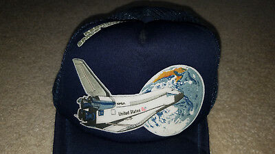 baseball hat navy blue space shuttle nasa kennedy center earth ship pride sts fl