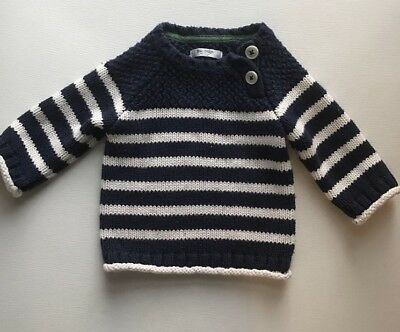 Baby Boden Navy+white Striped Sweater Size 6-12 Months