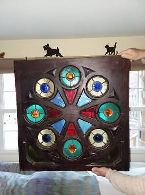Antique Stained Glass Rose Window Leaded Architectural Salvage Wood Frame 29x28