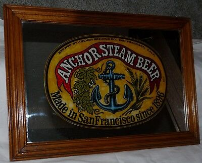 Anchor Steam Beer Mirror 15 x 21 Framed Made in San Francisco Since 1896 Nice