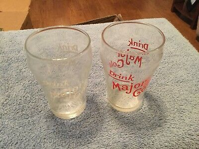 Vintage Rare Major Cola soda fountain Glasses both colors red & white