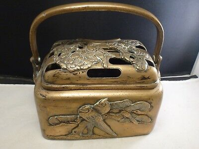 Rare Antique Chinese Brass Hand Warmer Vintage China Handwarmer Pot Qing Dynasty