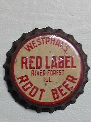 Vintage New Unused WESTPHAL'S RED LABEL ROOT BEER Cork Bottle Cap Crown