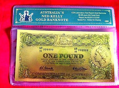 One Pound Ned Kelly Gold 24Kt  Banknote Australia Color Coloured Bank Note