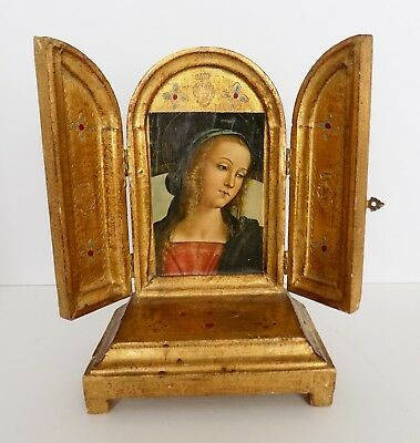Vintage FLORENTINE GILT TRIPTYCH Altar with REUGE Music Box  - Ave Maria [video]