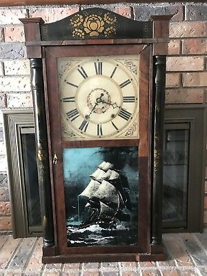 Riley Whiting Winchester Conn 30 hour Wood Works Clock ca 1830's
