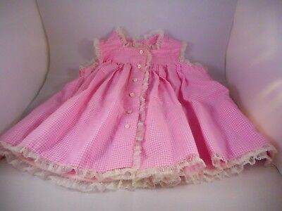 Vintage 1960s Child Baby Doll Girl Clothing Dress Smock Lace Gingham 9-12 Mos.