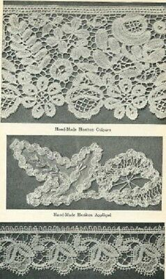 1923 Vintage Sewing Materials Book Lace Textiles Silk Fabric Uses ID Varieties+