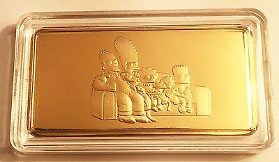 """NEW 10 Gram """"The Simpsons"""" Certified Ingot Finished in 999 Fine 24 k Gold a"""