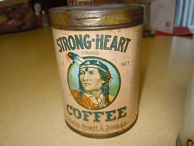 """Old Vintage 1Lb Twist Top """" Strong Heart """" Brand Coffee Tin Can - Rare -  Photos"""