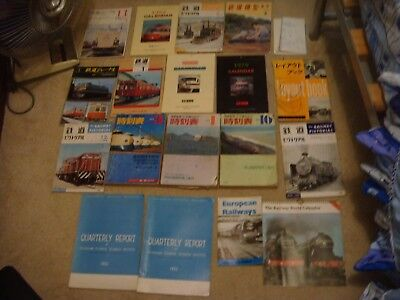Japan RAILWAY MAGAZINES,CALENDAR,LARGE BOOKS AND OTHER COLLECTION 17 PIECES