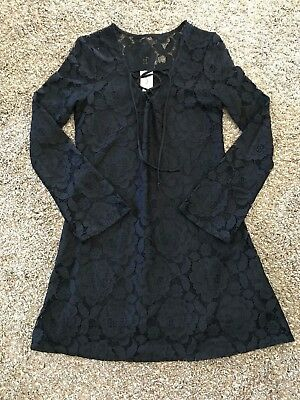 Womens Juniors ~SELF ESTEEM~ Black Long Sleeve Lace Dress ~WORN ONCE~ Small