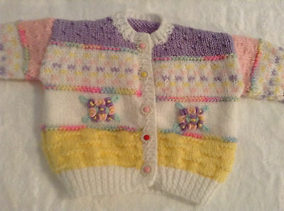New Hand Knitted Embroidered Baby Girl Cardigan - Birth to 3mths