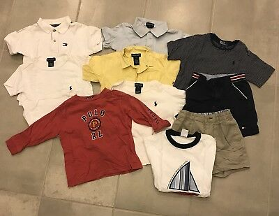 10 piece Lot Of Boys Shirts Shorts  Size 3t Polo Ralph Lauren and Tommy Hilfiger