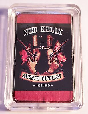 """NED KELLY"" #2 Aussie Outlaw Colour Printed HGE 999 24k Gold Ingot/token"