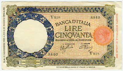 Italy 1942 Issue 50 Lire Banknote Very Crisp Vf-Xf.pick#58.