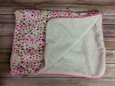 "JUST BORN Sherpa PINK Hearts Animal Print Leopard Cheetah Baby BLANKET 30"" x 40"""