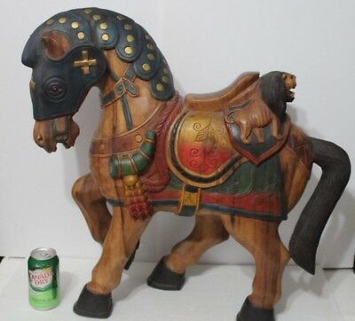 Fabulous Vintage French Style Hand Carved & Painted Horse W/ Two Lions On Seat