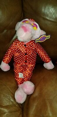 Vintage PINK PANTHER Valentine's Plush Toy Doll in Love Hearts w/ Tag RARE 18""