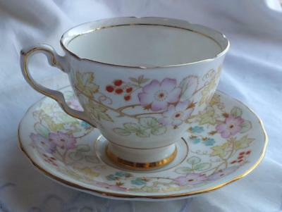 WATERCOLOR Royal Stafford VINTAGE Hedgerow Footed CUP & SAUCER Vines & Berries