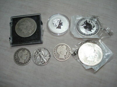 Us Australian Silver Coin Lot Walking Liberty Morgan Kookaburra 7 Pc Old Money