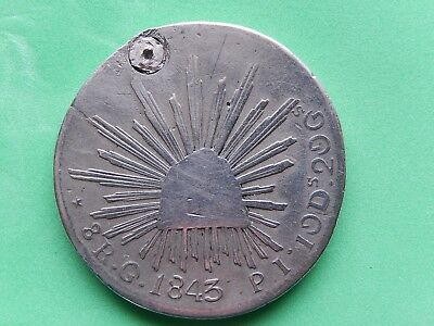 8 Reales Mexico 1843 G PI White Metal,Probably Low Silver, Counterfit