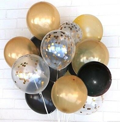 Black Metallic Gold Confetti Helium Balloons Set (20pcs) Anniversary Wedding