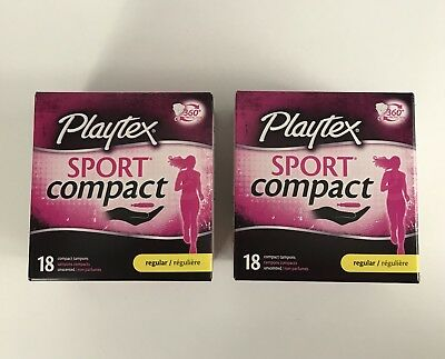 2 Playtex Sport Compact Unscented Tampons 36 Total Lot of 2 (B3)